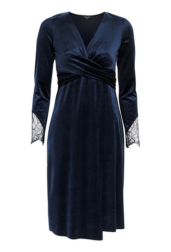 Leonora Velour Dress Dark Blue