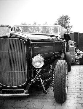 Heminredning Svartvitt poster.Roadster.