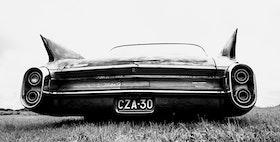 Svartvitt Canvastavla. Cadillac.