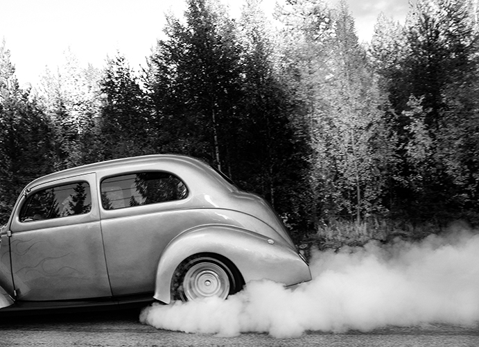 Burnout. Svartvit digital bild.