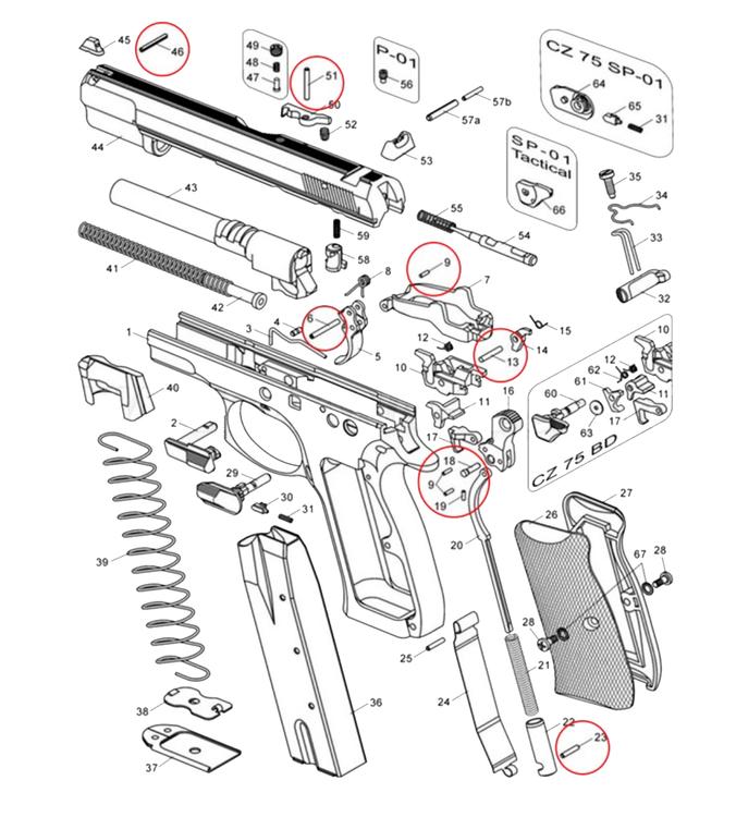 Eemann tech - Hammer pin lock pin for CZ