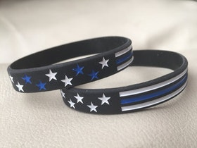 Thin blue line flag style silicone bracelet
