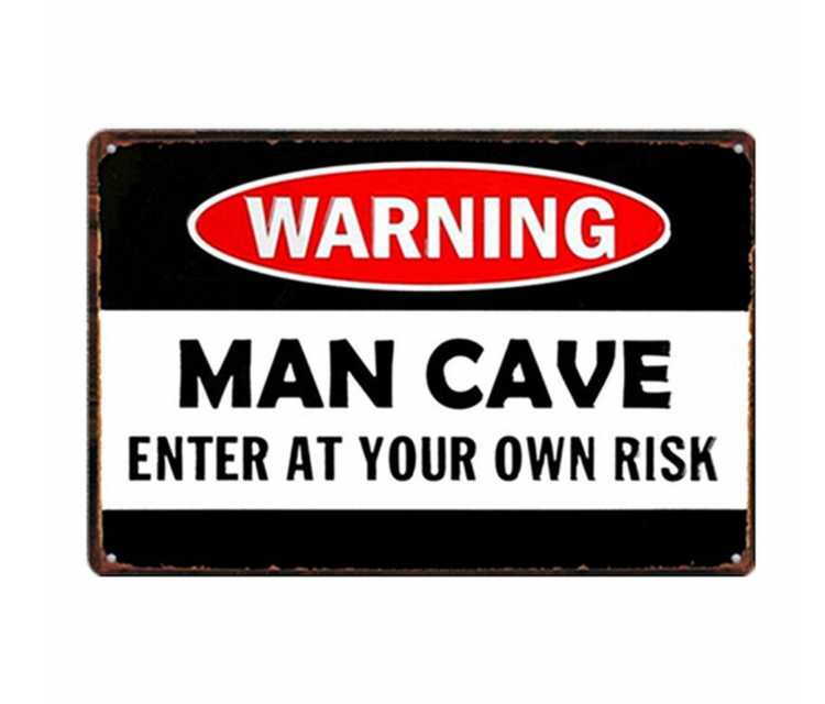 Man Cave Enter at your own risk - Metal tin sign