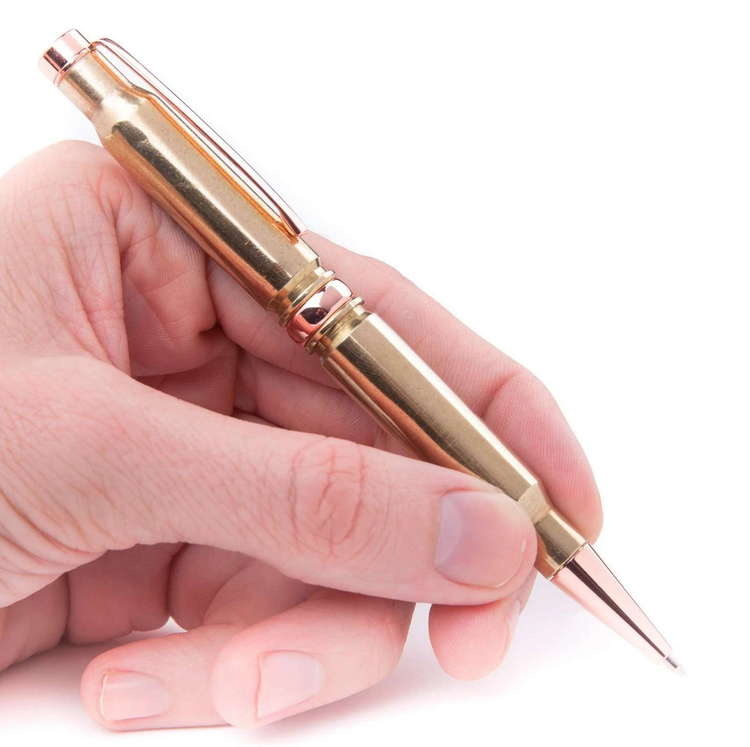 Lucky Shot - .308 Retractable Twist Pen in Polished Brass