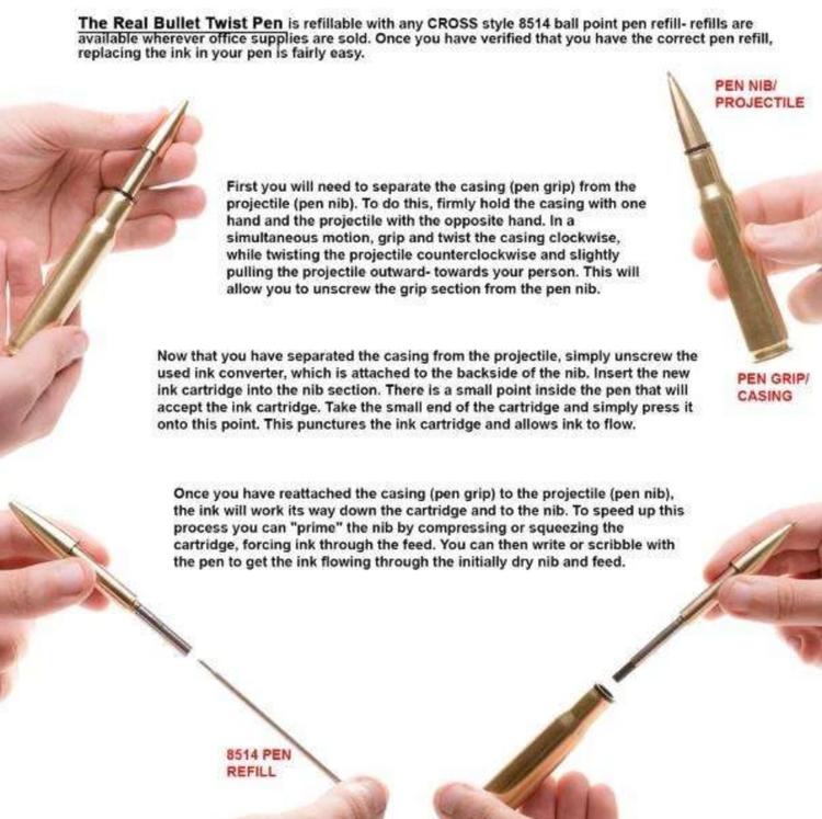 Lucky Shot - .50 Caliber Bullet Twist Pen in Brass