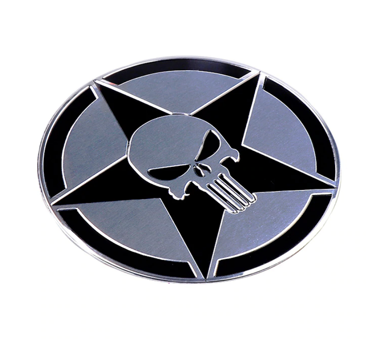 3D Metal Aluminium Skull Emblem