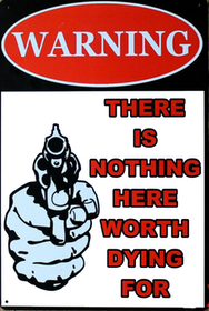 Warning There is nothing - Metal tin sign