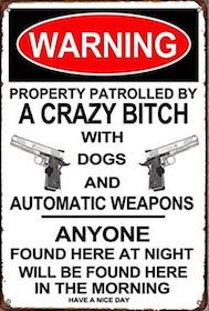 Warning - Property patrolled - Metal tin sign