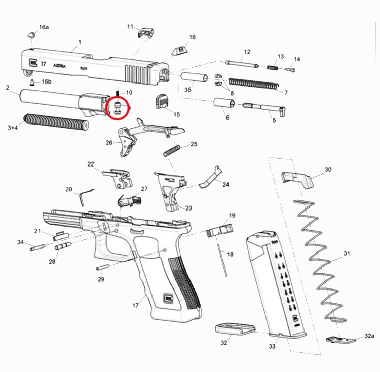 Glock - 33782 Firing Pin Safety for G17 GEN5, G19 GEN5, G19X, G26 GEN5, G34 GEN5 MOS