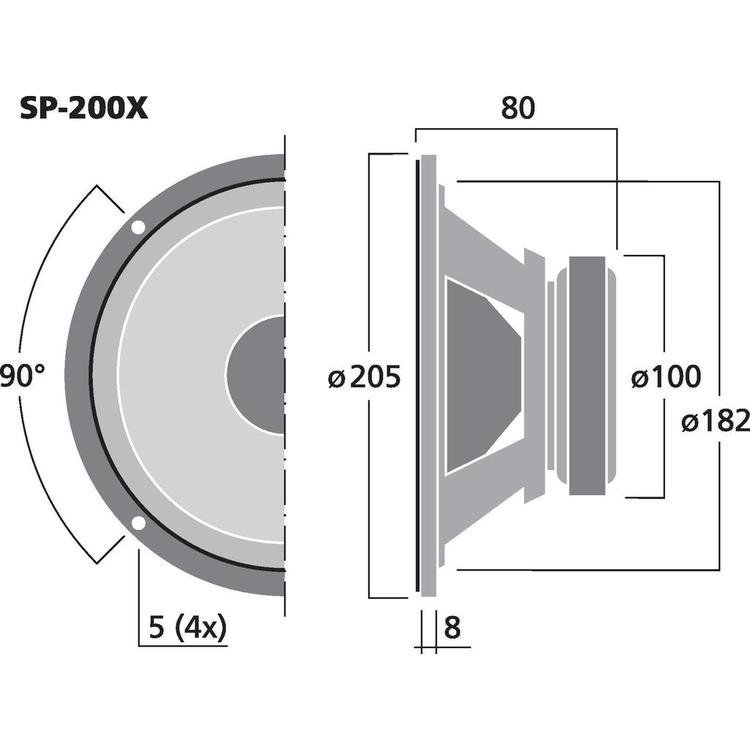 Monacor SP-200X 8'' bredbandshögtalare
