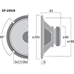 Monacor SP-205/8 8'' bredbandshögtalare