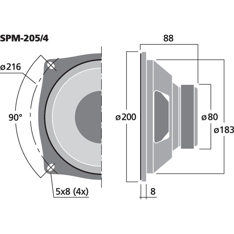 Monacor SPM-205/4 8'' Bas/mellenregister