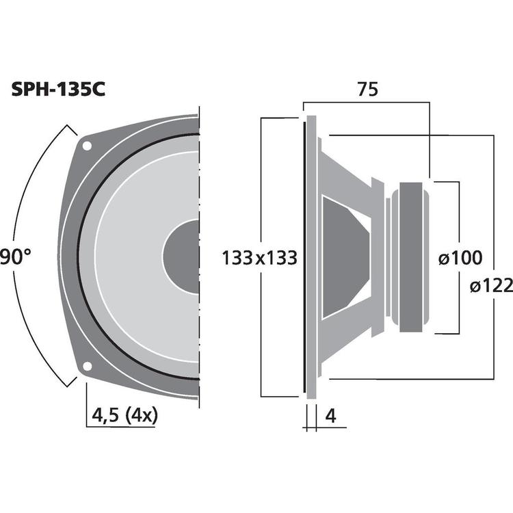 Monacor SPH-135C 5 1/4'' Bas/mellanregisterhögtalare