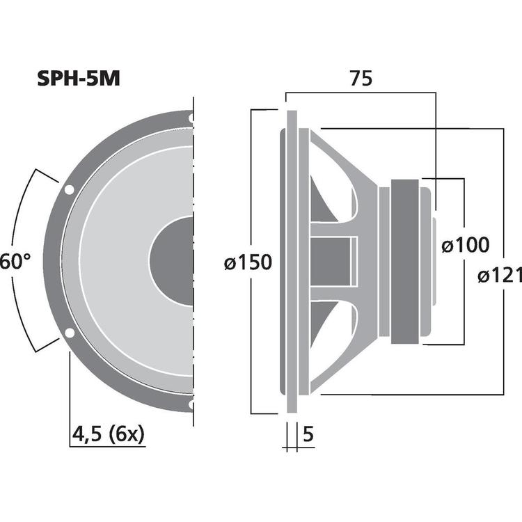 Monacor SPH-5M 5'' Hi-fi Bas/mellanregisterhögtalare
