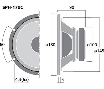 Monacor SPH-170C 6 1/2'' Bas/mellanregisterhögtalare