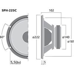 Monacor SPH-225C 8'' Bas/mellanregisterhögtalare