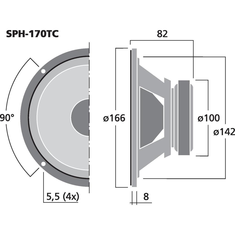 """Monacor SPH-170TC 6,5"""" Sub-bas högtalare"""