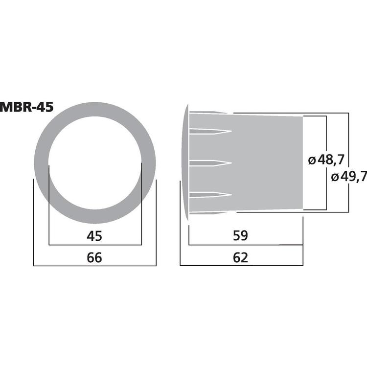Monacor MBR-45 Basreflexrör 45mm