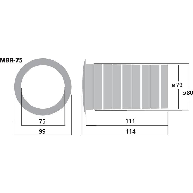 Monacor MBR-75 Basreflexrör 75mm