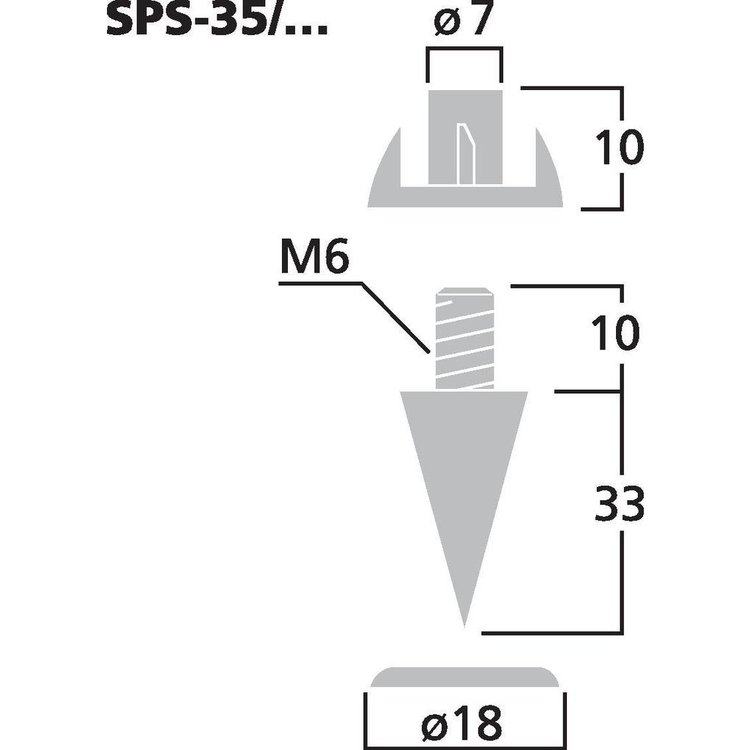 Monacor SPS-35/GO Högtalarspikes (4st/fp)