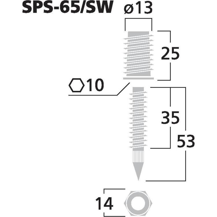 Monacor SPS-65/SW Högtalarspikes (4st/fp)