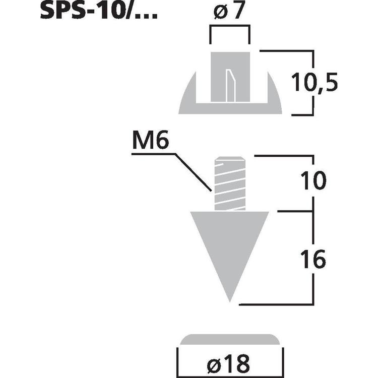 Monacor SPS-10/SC Högtalarspikes (4st/fp)