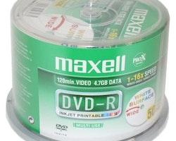 Maxell DVD-R 4,7GB InkJet 4,7 Print 50st