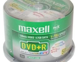 Maxell DVD+R 4,7GB InkJet Printable  50st