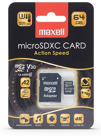 Maxell Action Speed Micro SDXC Med Adapter 64 GB