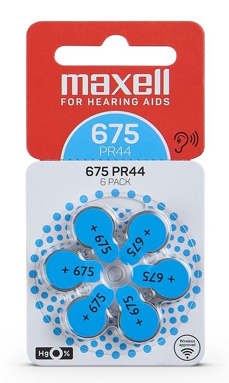 MAXELL PR44 Hörapparatsbatteri 675/Blå 6-pack