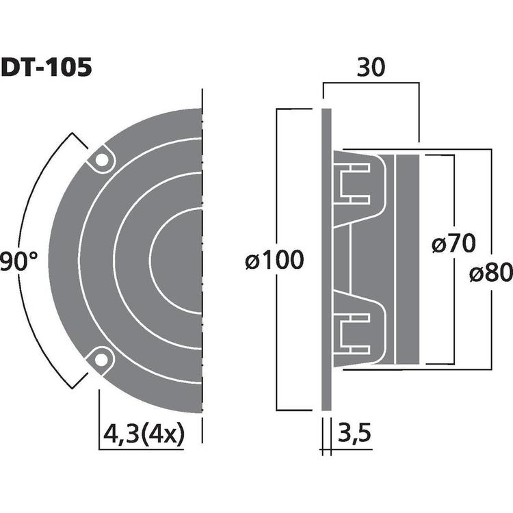 Monacor DT-105 1'' dome diskant
