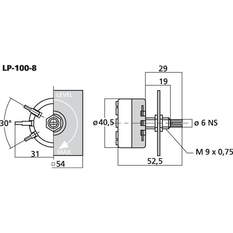 Monacor LP-100-8 L-pad mono, 15W