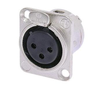 Neutrik NC3FD-L-1 3-polig XLR-chassikontakt, hona, Nickel