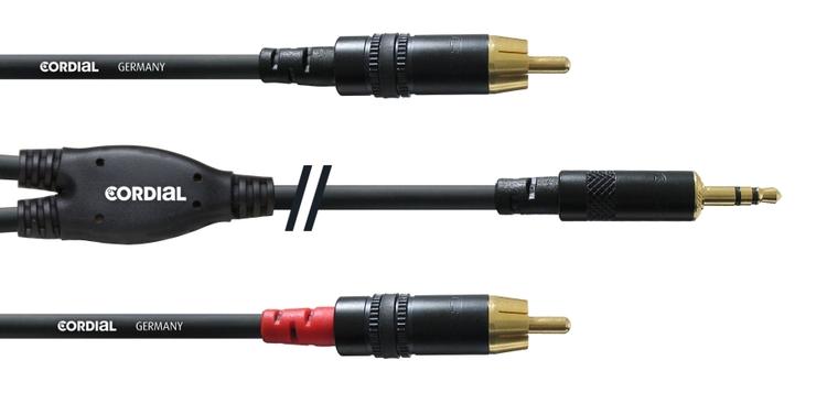 Cordial CFY 6 WCC, Y-kabel RCA till 3,5mm tele, svart