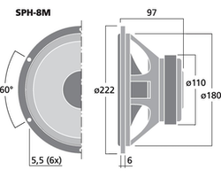 Monacor SPH-8M 8'' Hifi Bas/mellanregisterhögtalare