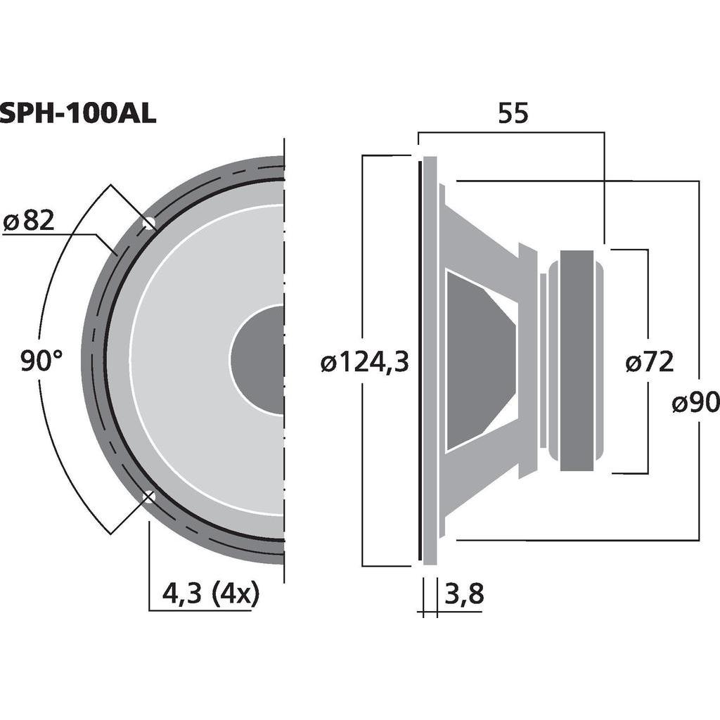 Monacor SPH-100AL 4'' Hifi mellanregisterhögtalare