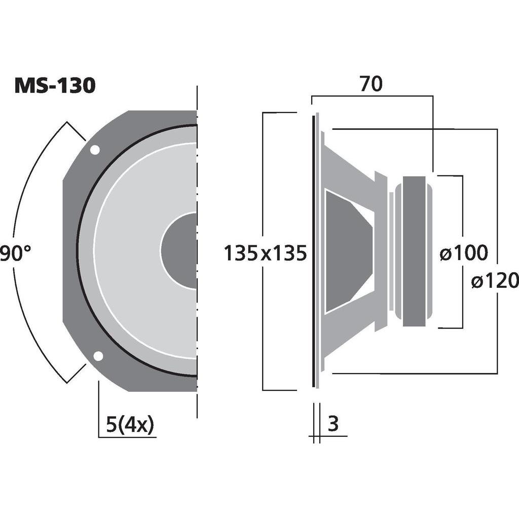 "Monacor MS-130 5"" Hifi mellanregisterhögtalare"
