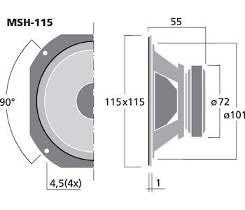 Monacor MSH-115 4'' Hifi mellanregisterhögtalare