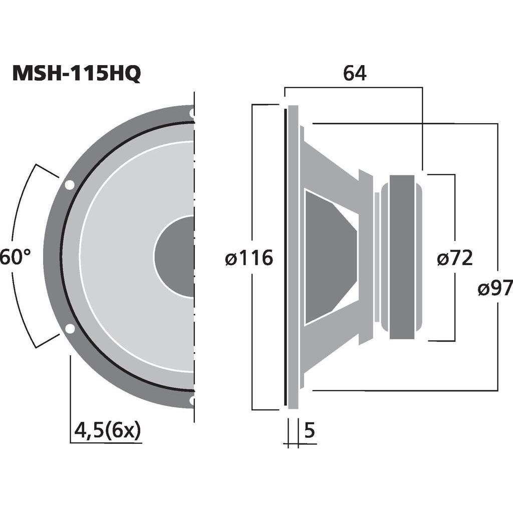 Monacor MSH-115HQ 4'' Hifi mellanregisterhögtalare