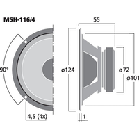 Monacor MSH-116/4 4'' Hifi mellanregisterhögtalare