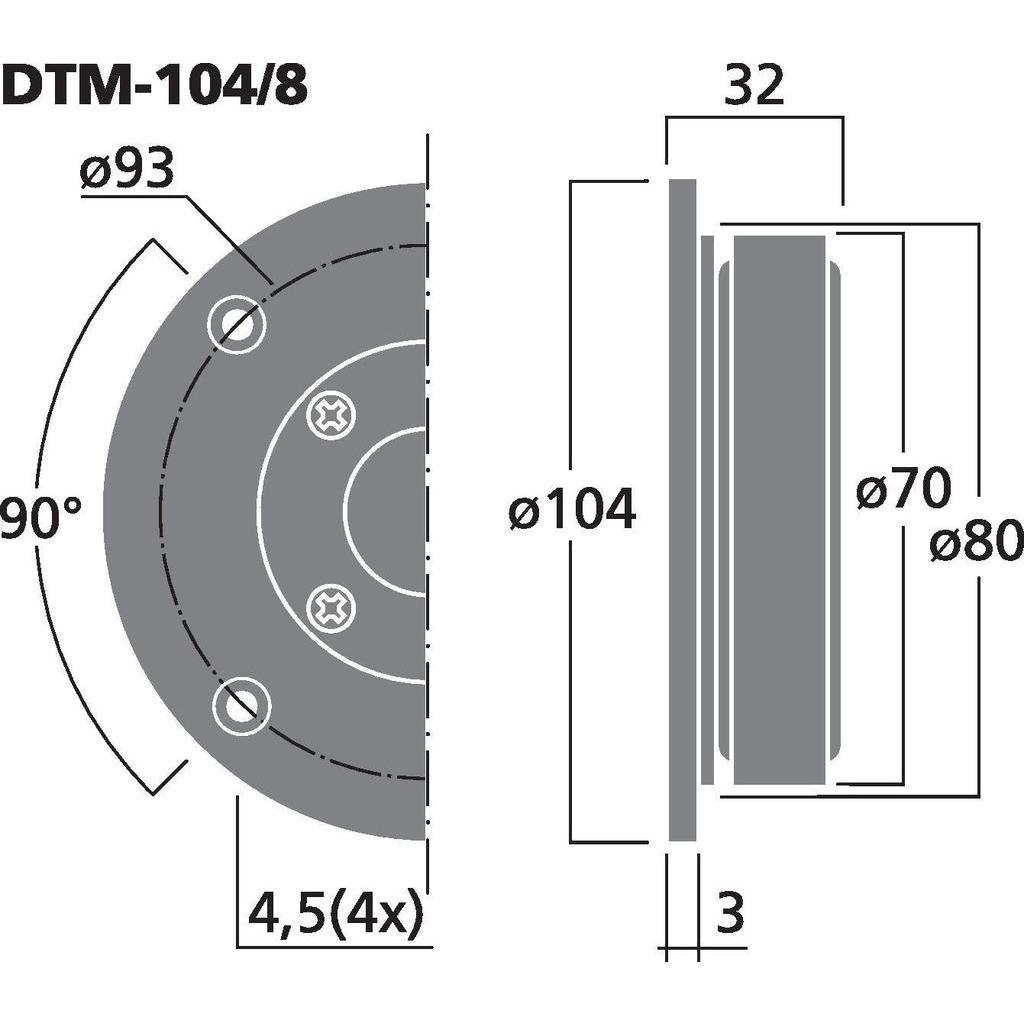 Monacor DTM-104/8 HiFi dome diskant (8ohm)