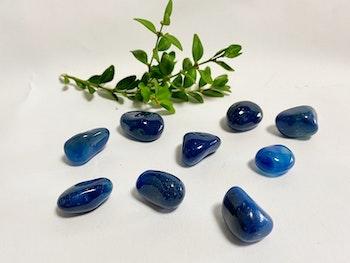 Blå agat  (trumlad)