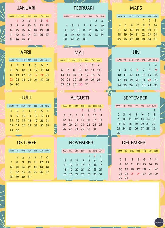 Kalenderblad 2019