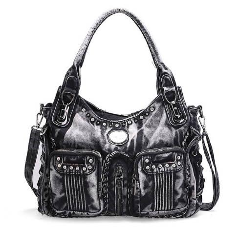 Denim väska-svart med två fickor