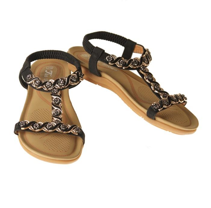 Sandaler - svart med strass och låg klack