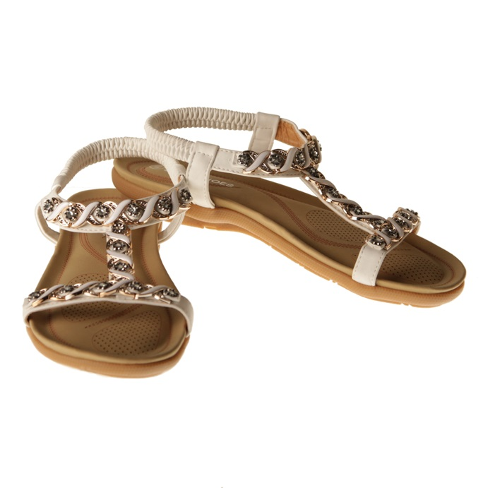 Sandaler - låg, vit med strass