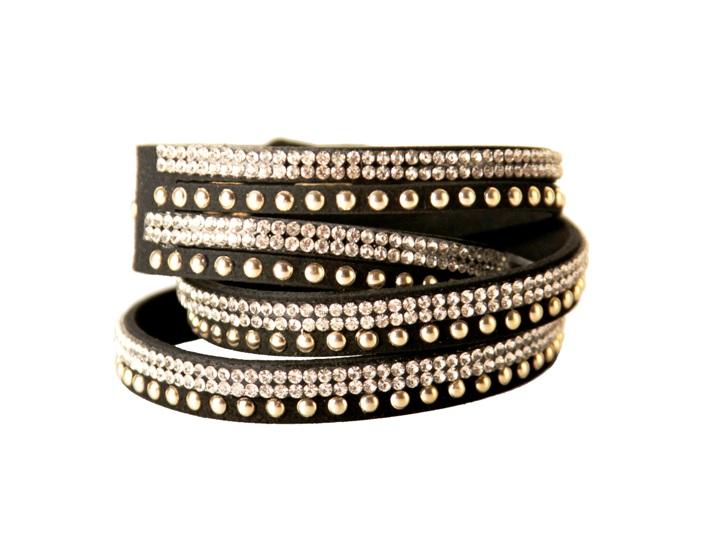 Armband - Svart med strass och silverfärgade detaljer