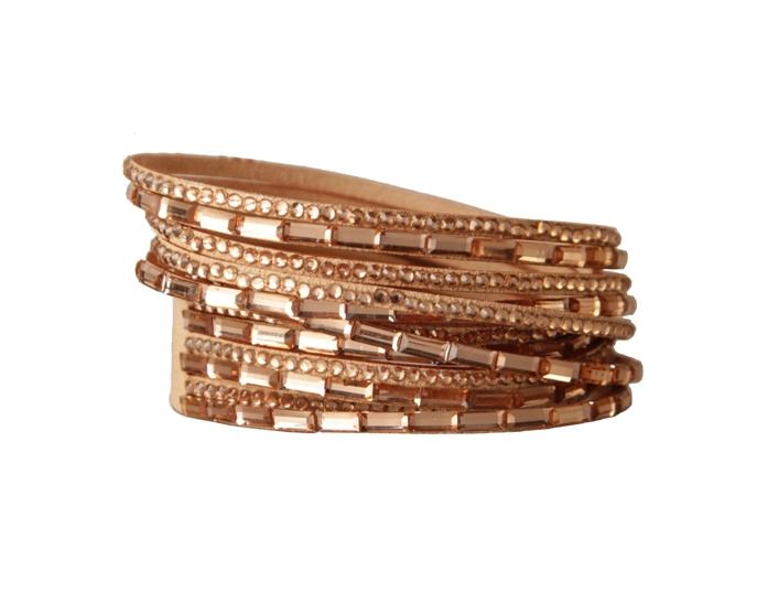 Armband - Koppar/beige med strass och glasdetaljer