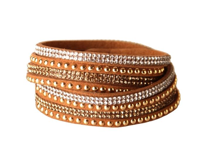 Armband - Brunt med strass och stenar