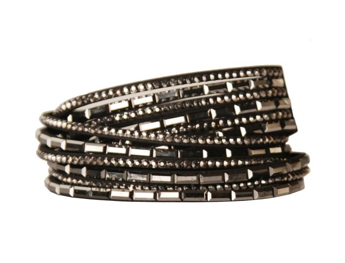 Armband - Svart med strass och glasdetaljer